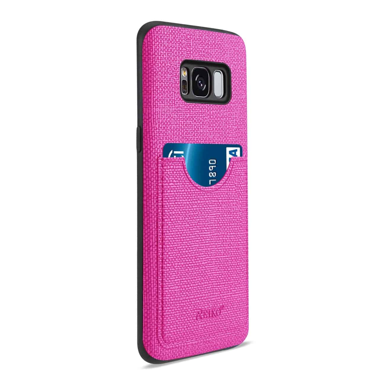 SAMSUNG GALAXY S8/ SM ANTI-SLIP TEXTURE PROTECTOR COVER WITH CARD SLOT IN HOT PINK