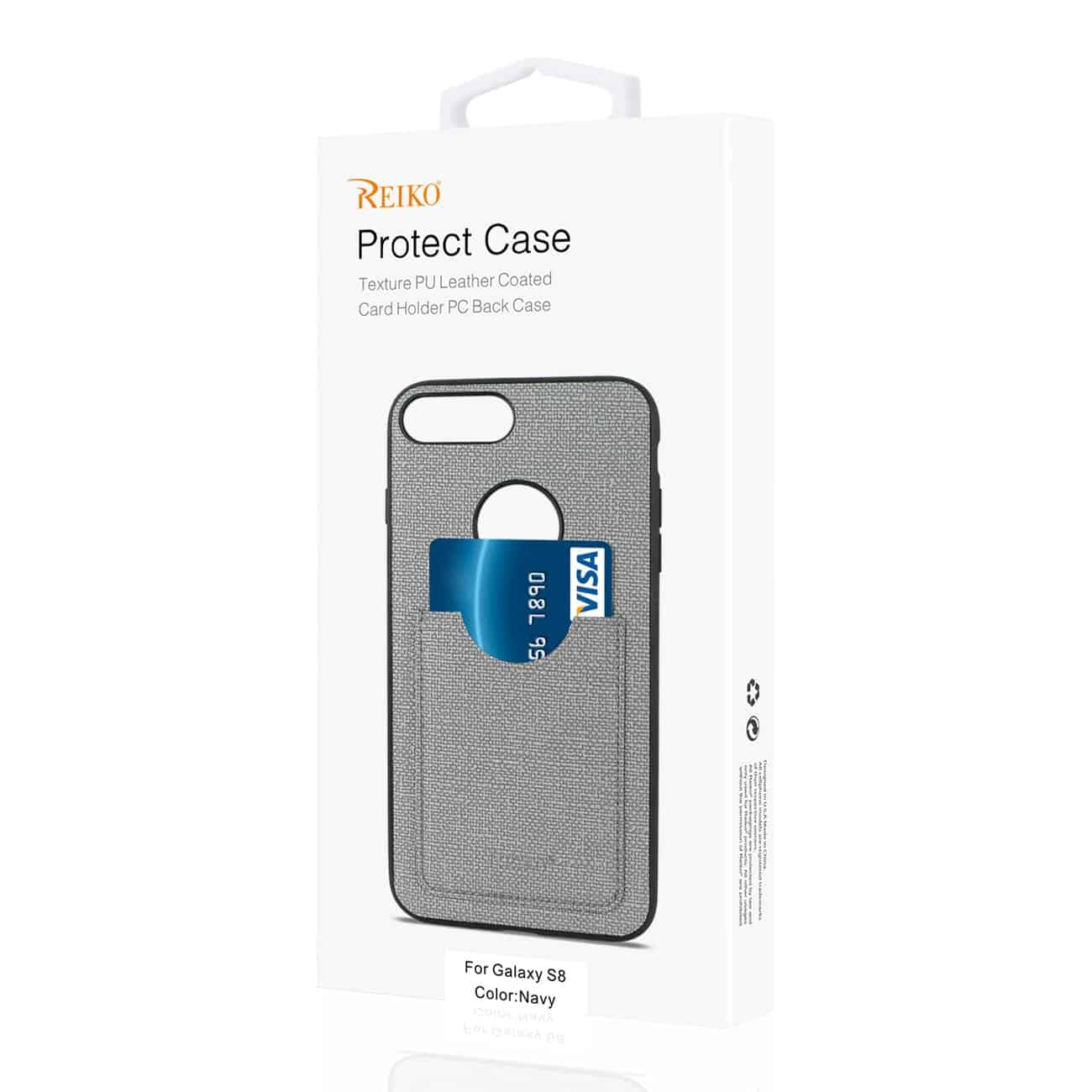 SAMSUNG GALAXY S8/ SM ANTI-SLIP TEXTURE PROTECTOR COVER WITH CARD SLOT IN NAVY