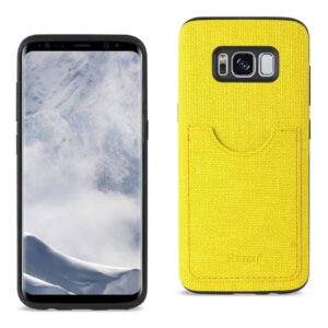 SAMSUNG GALAXY S8/ SM ANTI-SLIP TEXTURE PROTECTOR COVER WITH CARD SLOT IN YELLOW