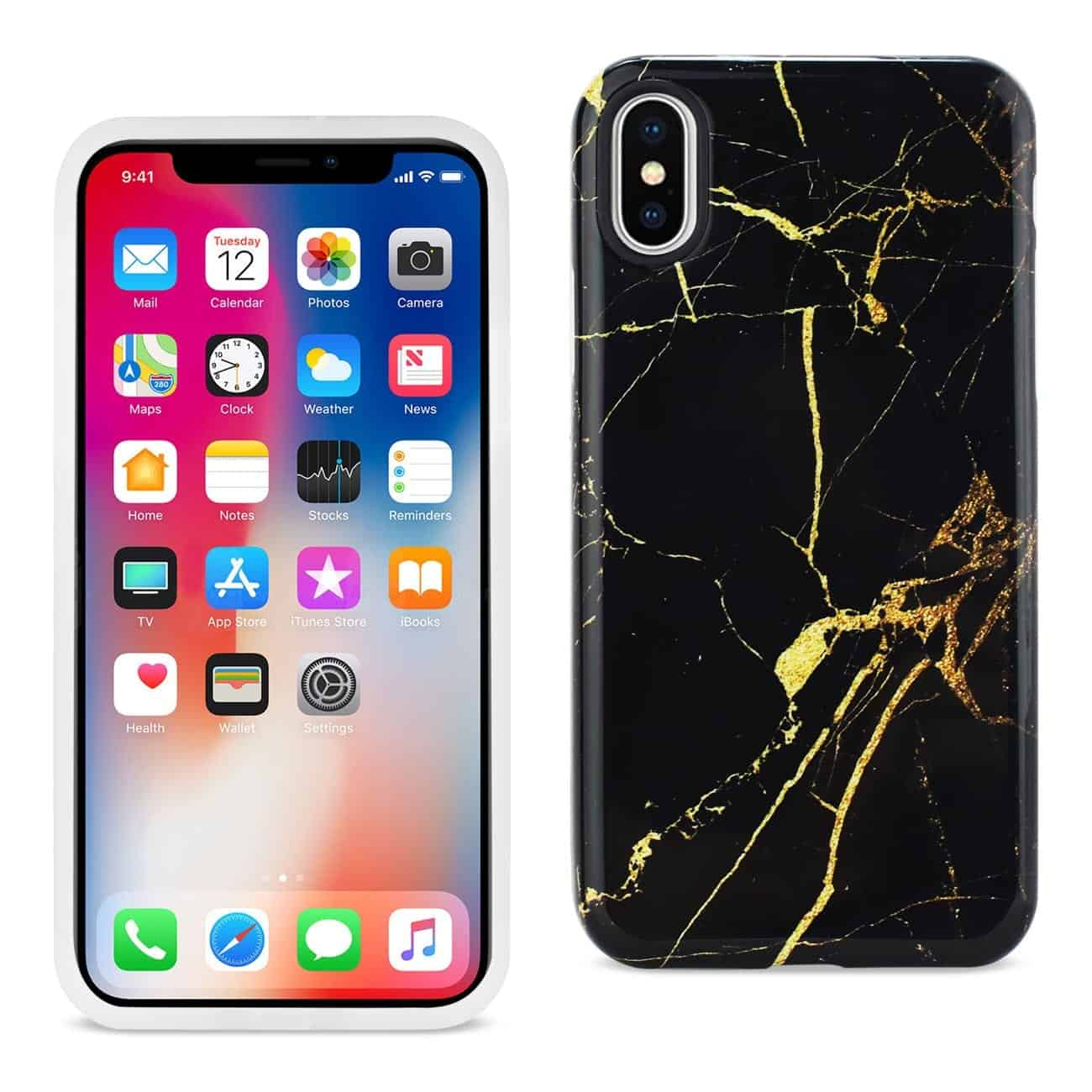 iPhone X Streak Marble iPhone Cover In Black