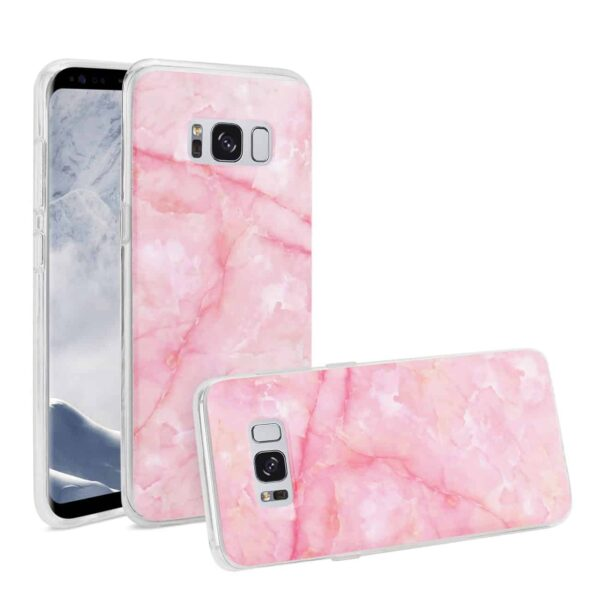 Samsung Galaxy S8 Edge/ S8 Plus Streak Marble Cover In Pink