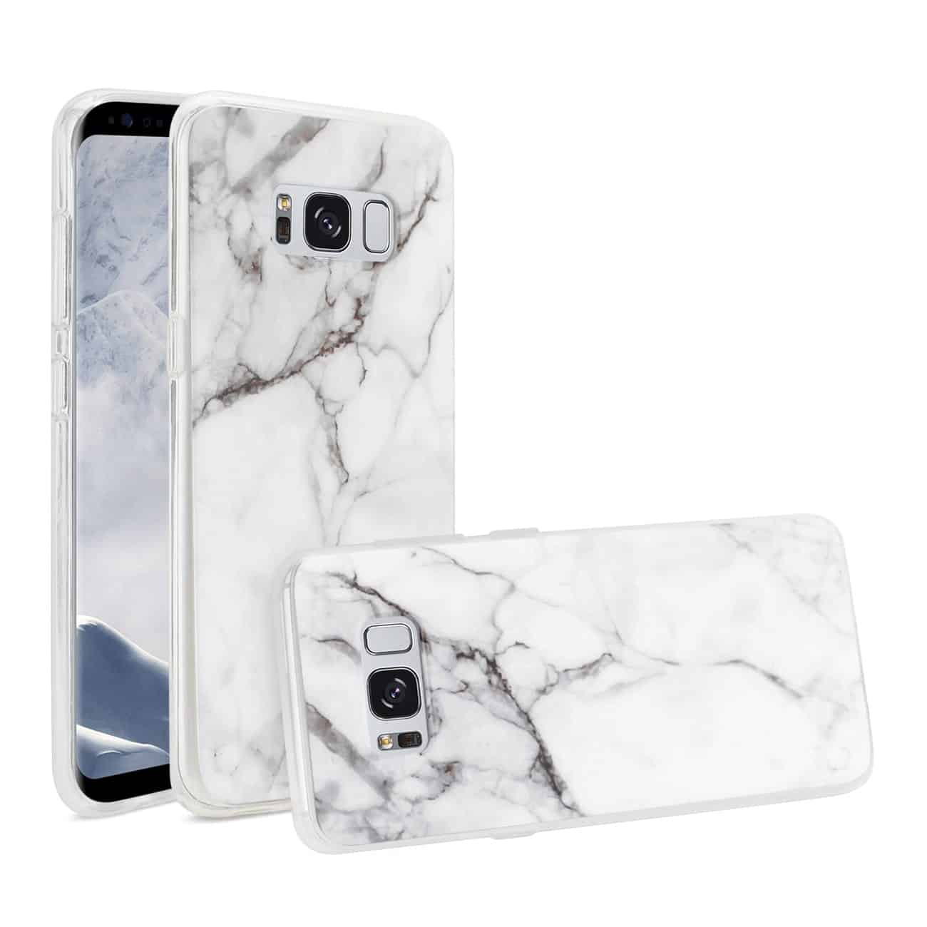 SAMSUNG GALAXY S8 EDGE/ S8 PLUS STREAK MARBLE COVER IN WHITE