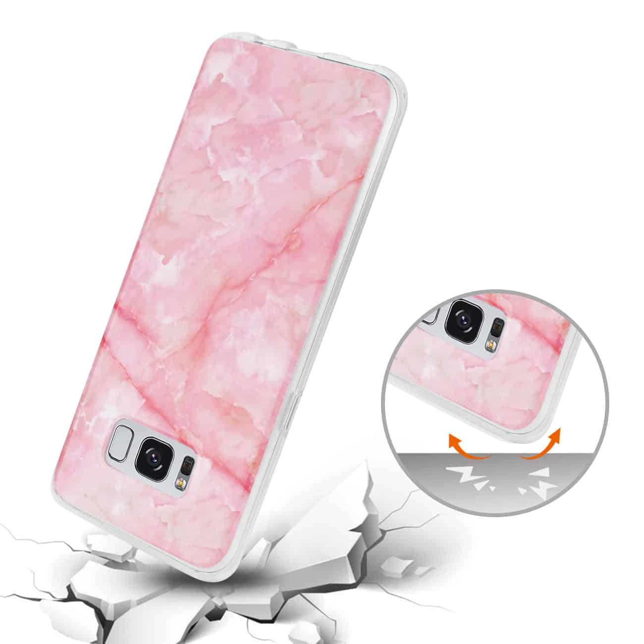SAMSUNG GALAXY S8/ SM STREAK MARBLE COVER IN PINK