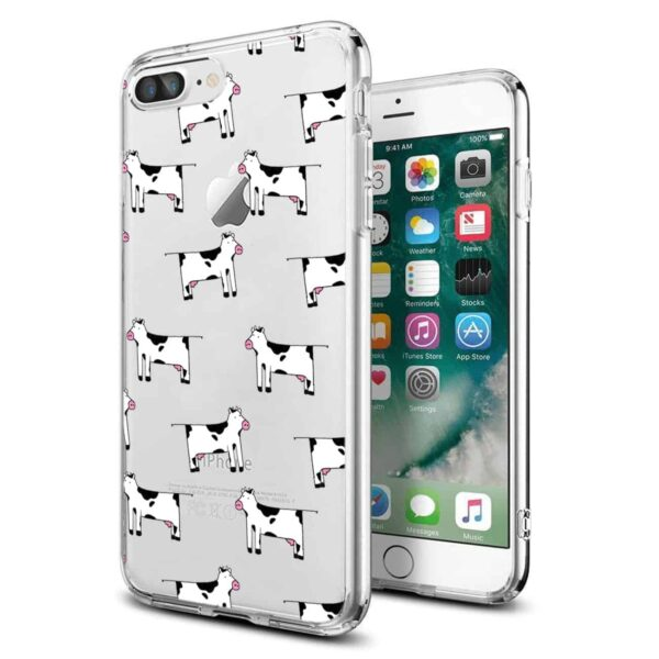 Apple iPhone 8 PLUS Design Air Cushion Case With Cow In Blue