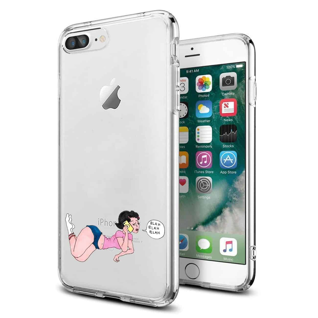 Apple iPhone 8 PLUS Design Air Cushion Case With Lady In Pink