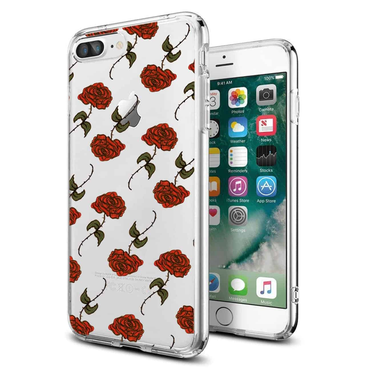 Apple iPhone 8 PLUS Design Air Cushion Case With Rose In Black