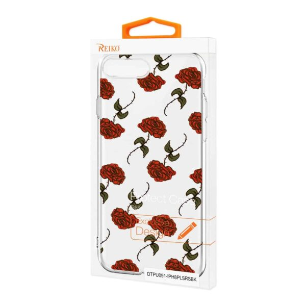 Apple iPhone 8 PLUS Design Air Cushion Case With Rose In Black