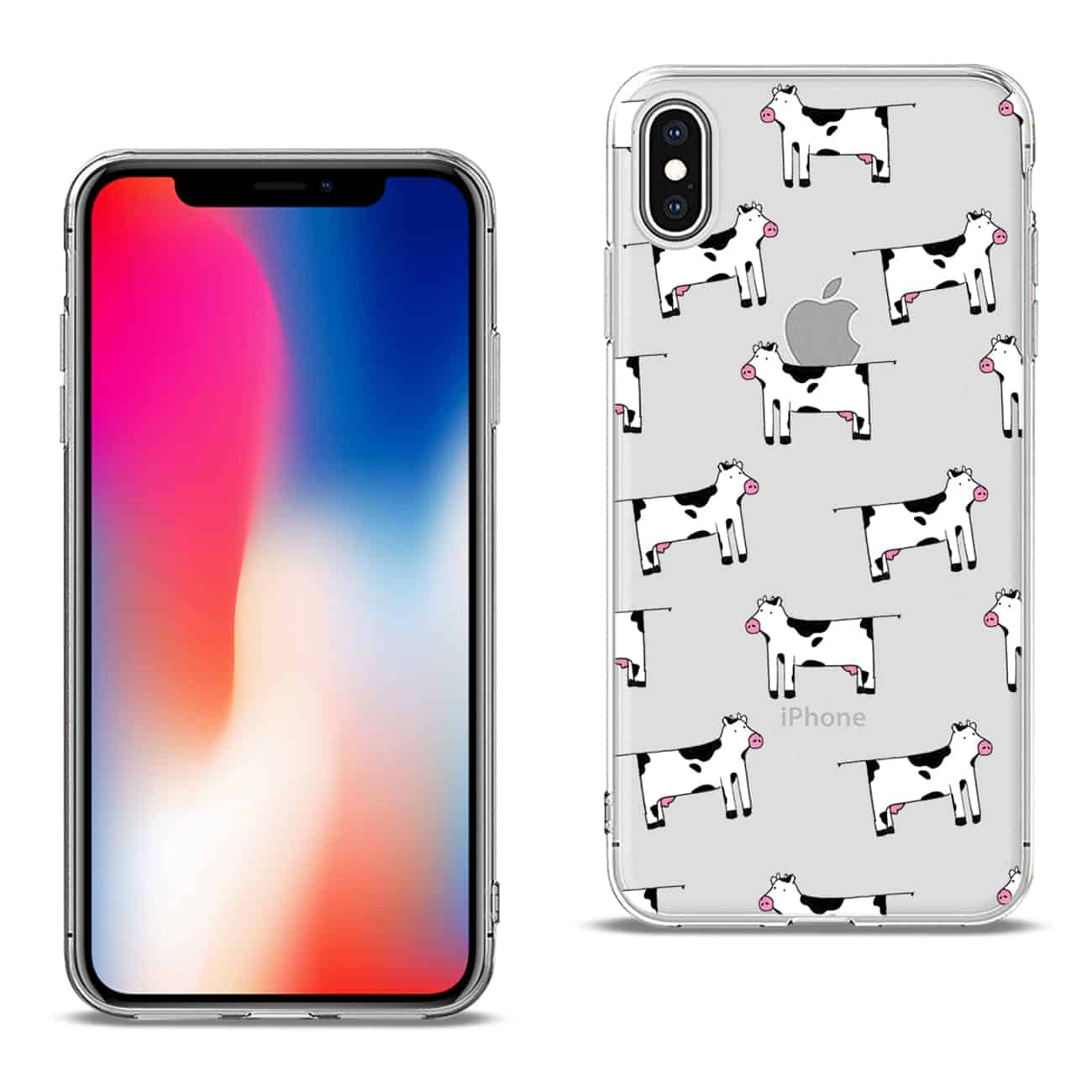 Apple iPhone X Design Air Cushion Case With Cow In Blue
