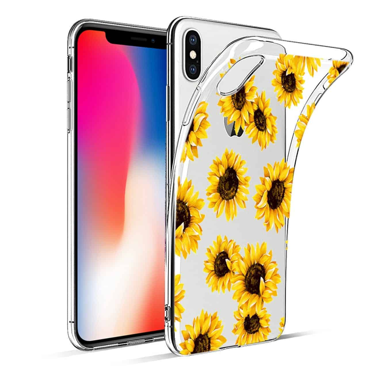 iPhone X/iPhone XS Flower Design Air Cushion Case In Clear