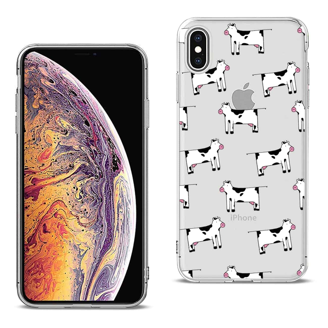 Apple iPhone XS MAX Design Air Cushion Case With Cow In Blue