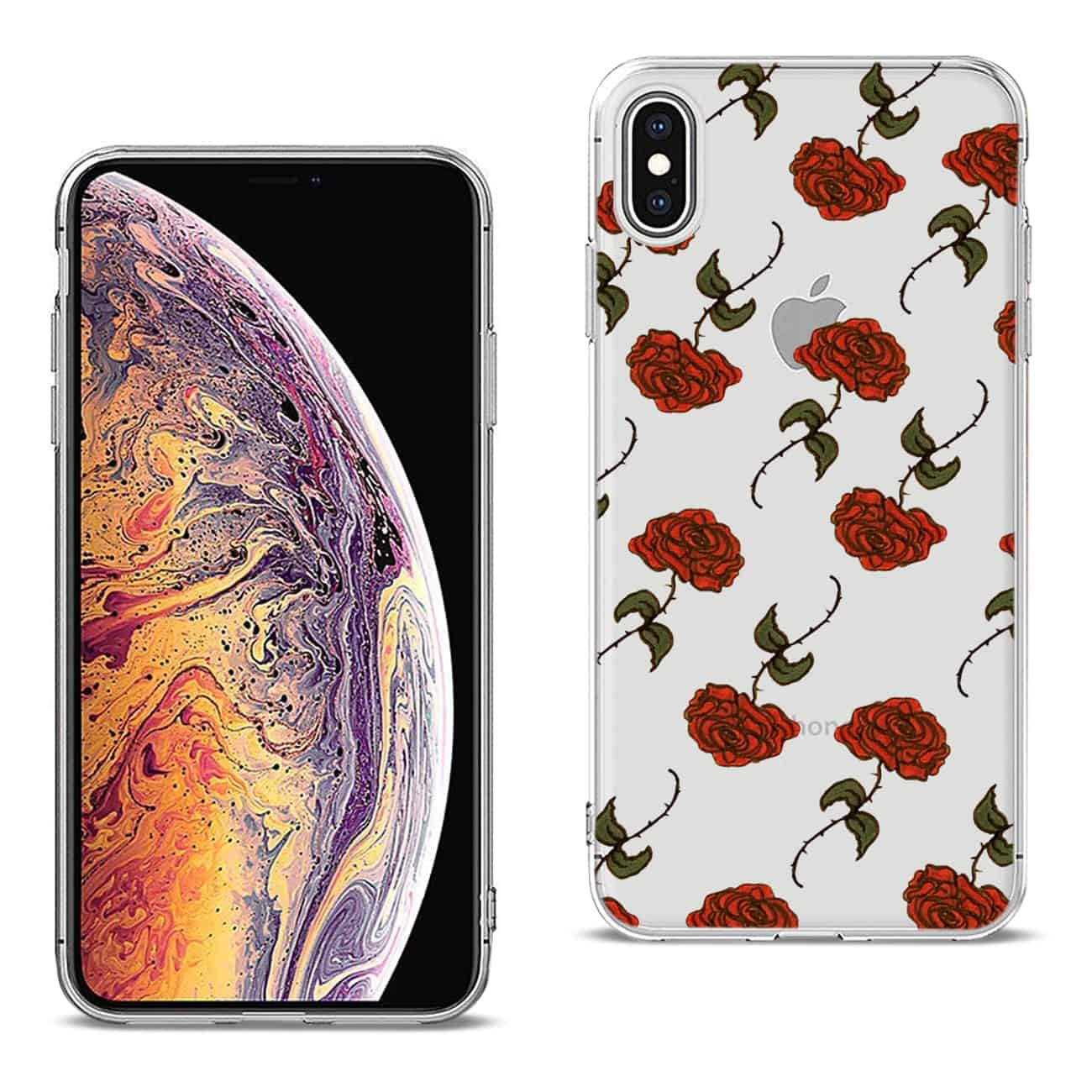 Apple iPhone XS MAX Design Air Cushion Case With Rose In Black