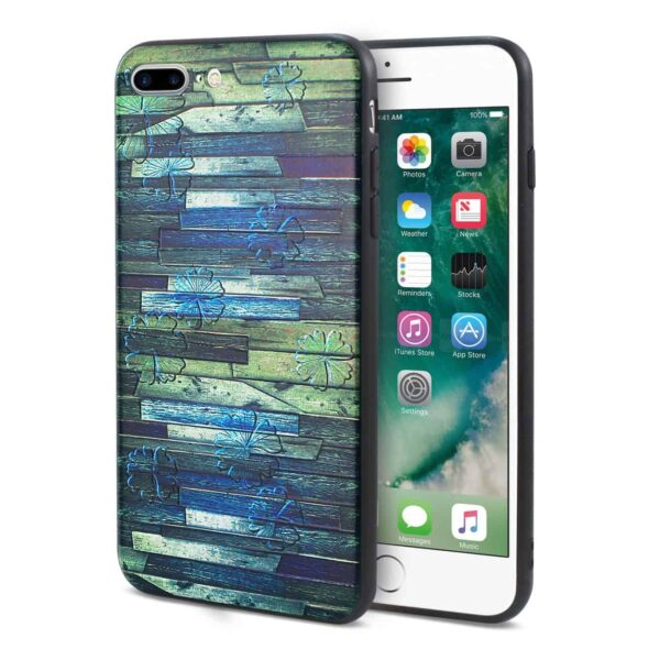 IPHONE 7 PLUS EMBOSSED WOOD PATTERN DESIGN TPU CASE WITH MULTI-LETTER