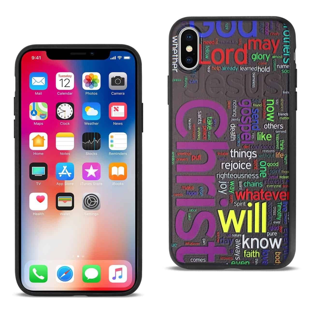 IPHONE X DESIGN TPU CASE WITH VIBRANT WORD CLOUD JESUS LETTERS