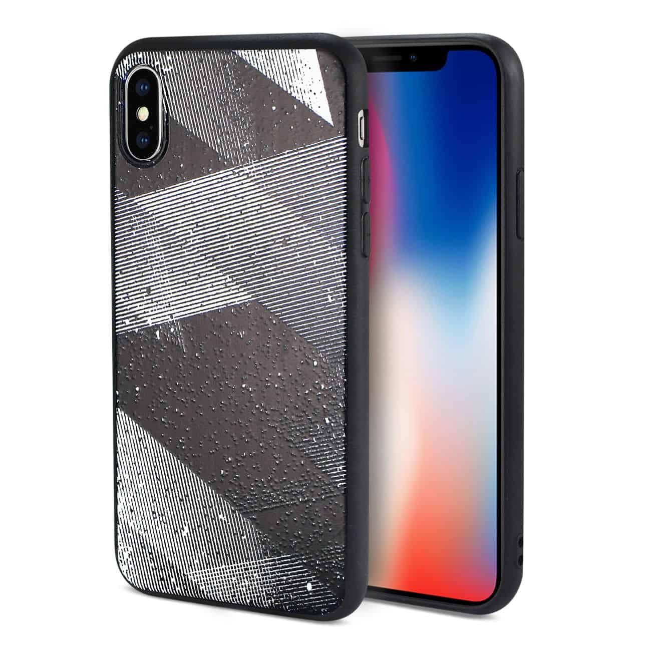 IPHONE X DESIGN TPU CASE WITH SHADES OF OBLIQUE STRIPES