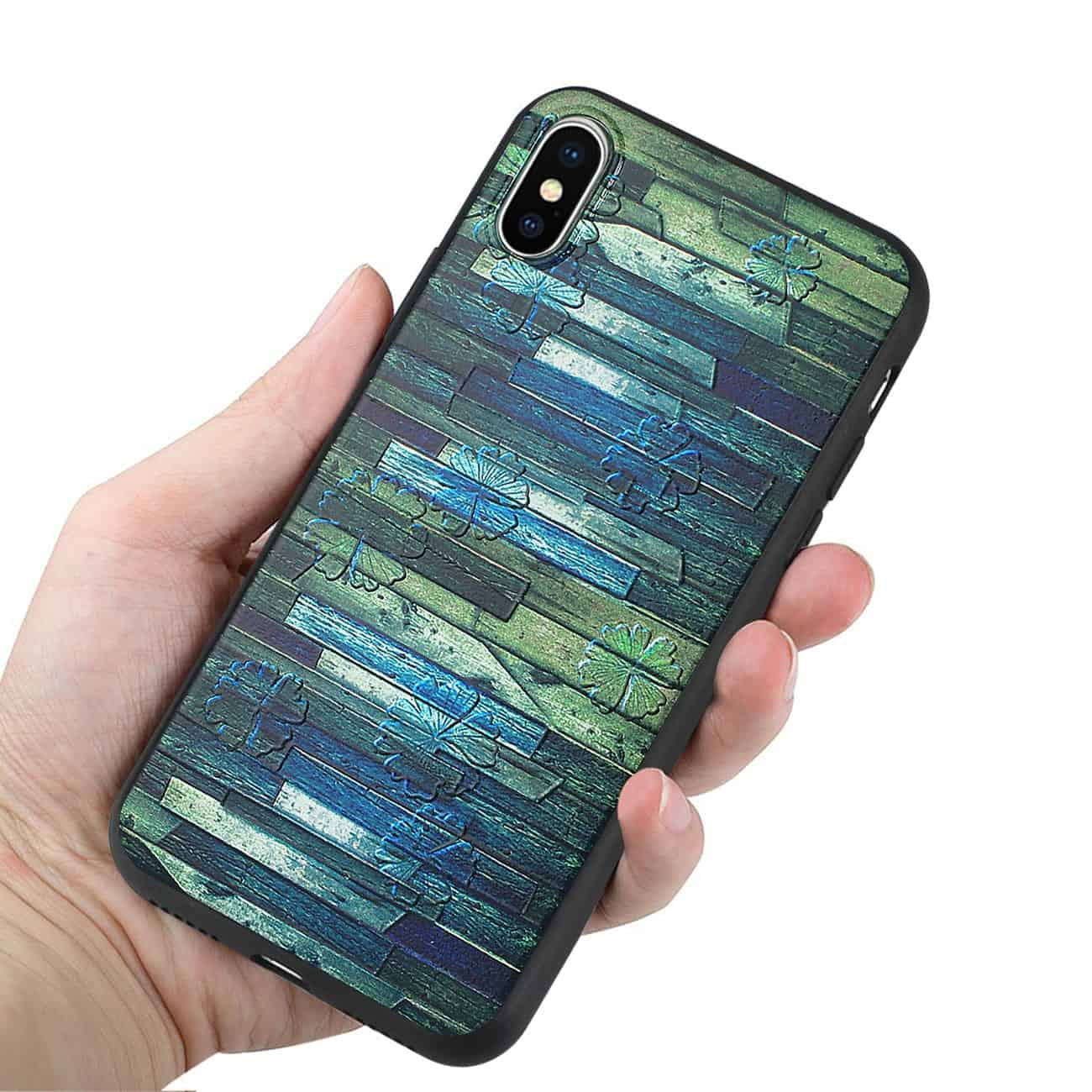IPHONE X EMBOSSED WOOD PATTERN DESIGN TPU CASE WITH MULTI-LETTER