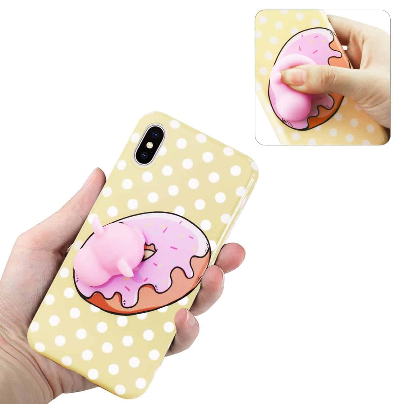 IPHONE X TPU DESIGN CASE WITH  3D SOFT SILICONE POKE SQUISHY PIGGY