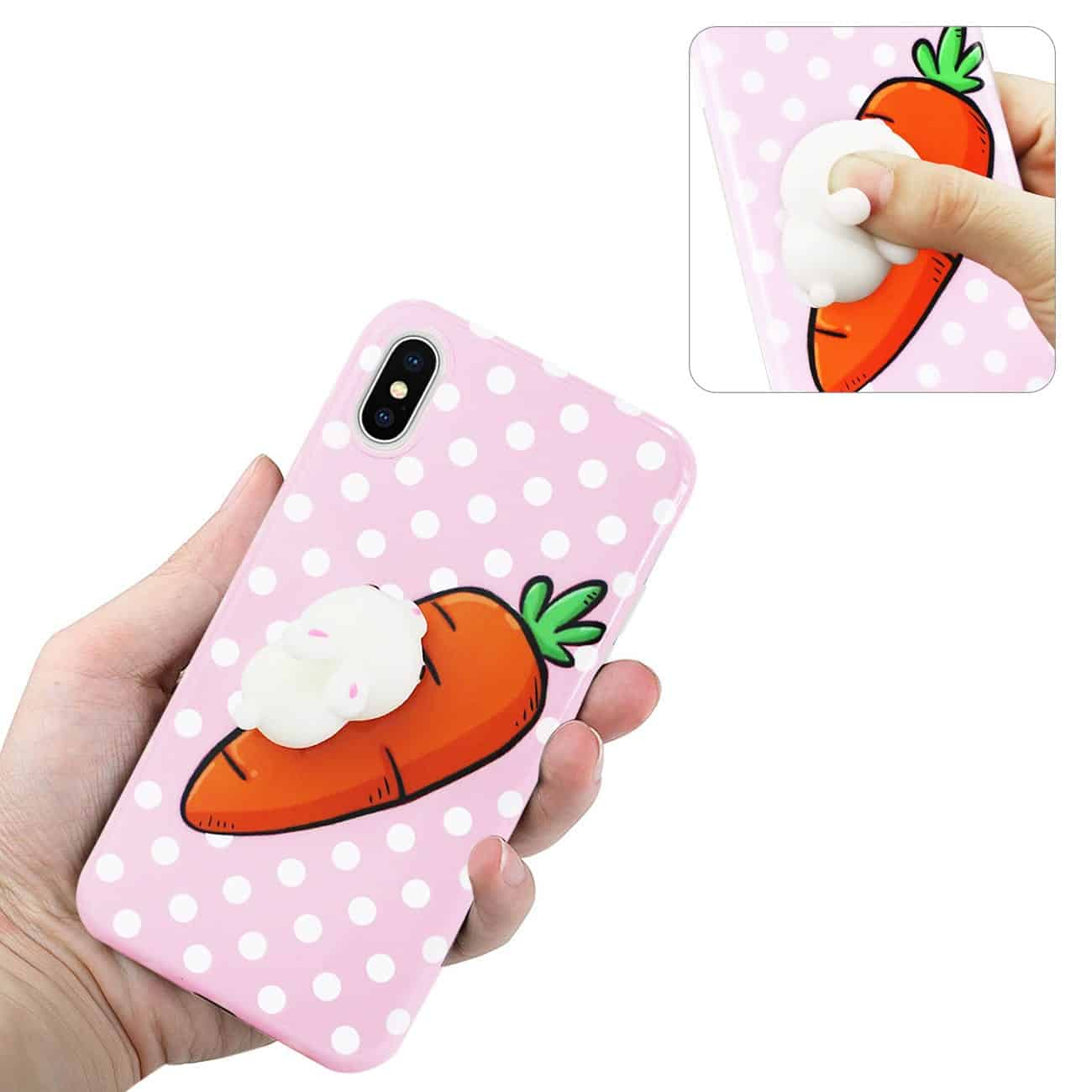 IPHONE X TPU DESIGN CASE WITH  3D SOFT SILICONE POKE SQUISHY RABBIT