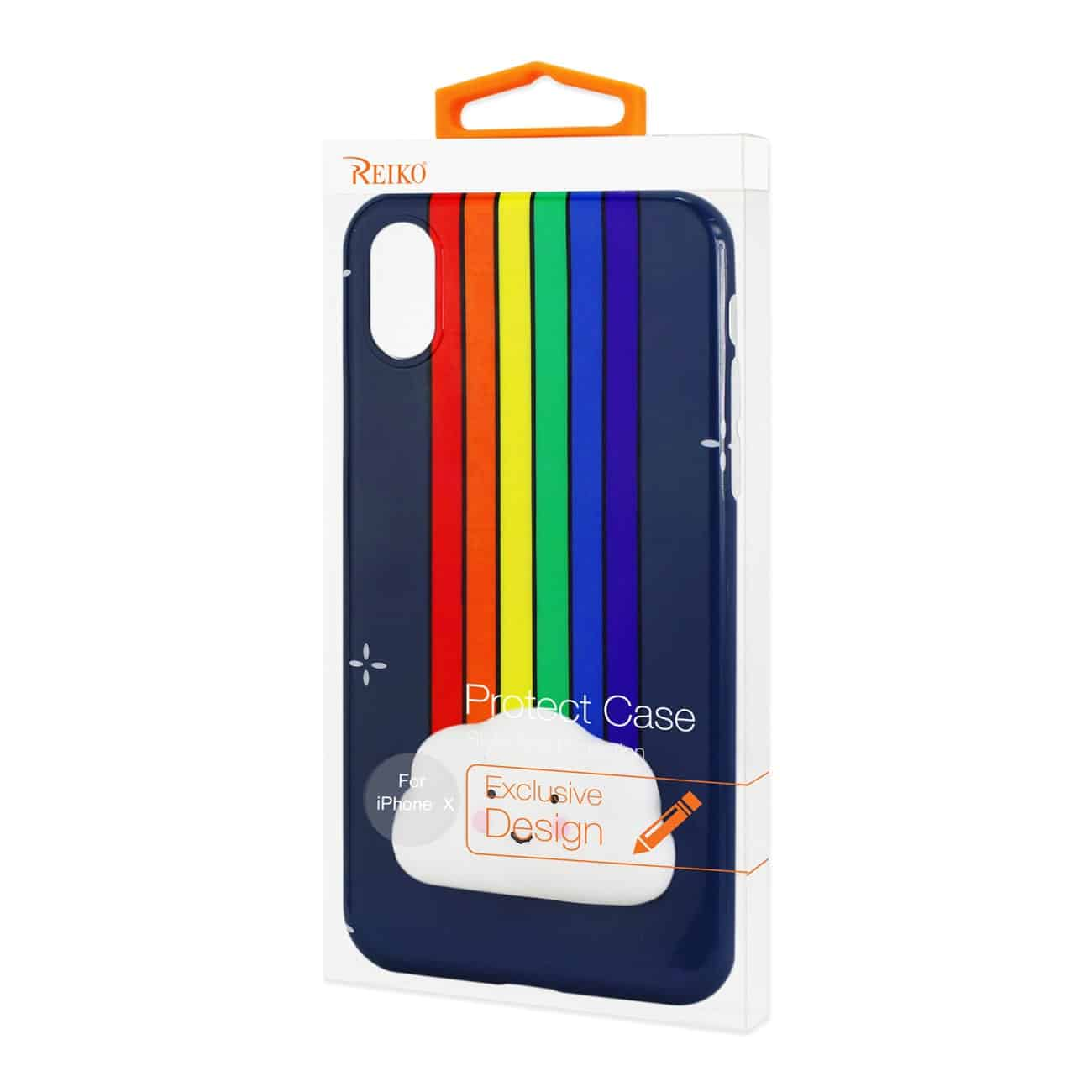 IPHONE X TPU DESIGN CASE WITH  3D SOFT SILICONE POKE SQUISHY RAINBOW CLOUD