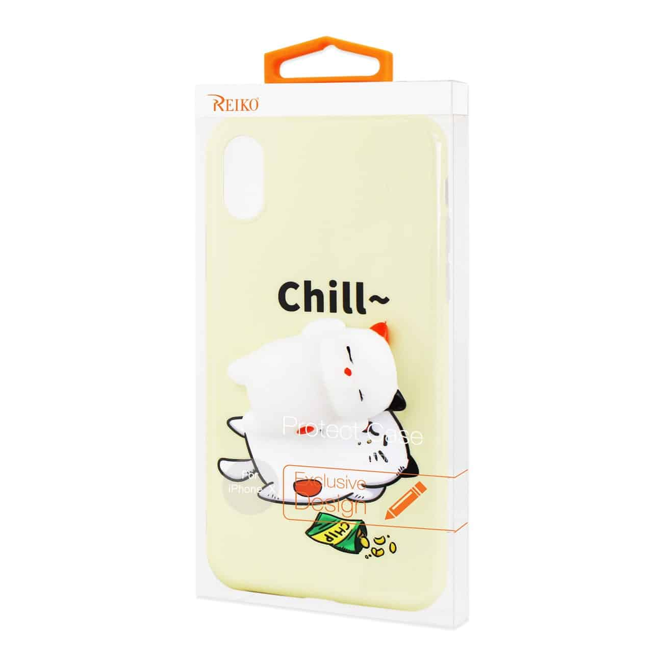 IPHONE X TPU DESIGN CASE WITH  3D SOFT SILICONE POKE SQUISHY SLEEPING CAT