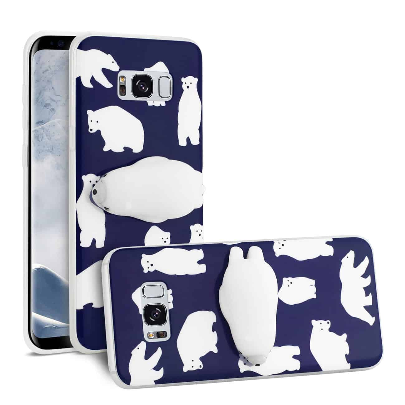SAMSUNG GALAXY S8 EDGE TPU DESIGN CASE WITH  3D SOFT SILICONE POKE SQUISHY POLAR BEAR