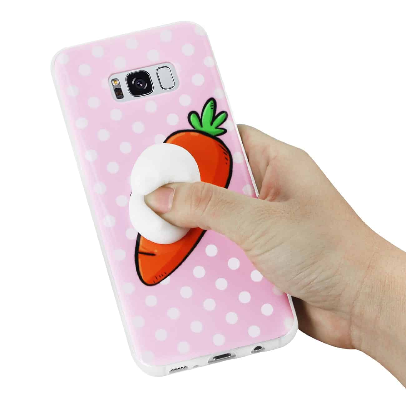 SAMSUNG GALAXY S8 EDGE TPU DESIGN CASE WITH  3D SOFT SILICONE POKE SQUISHY RABBIT