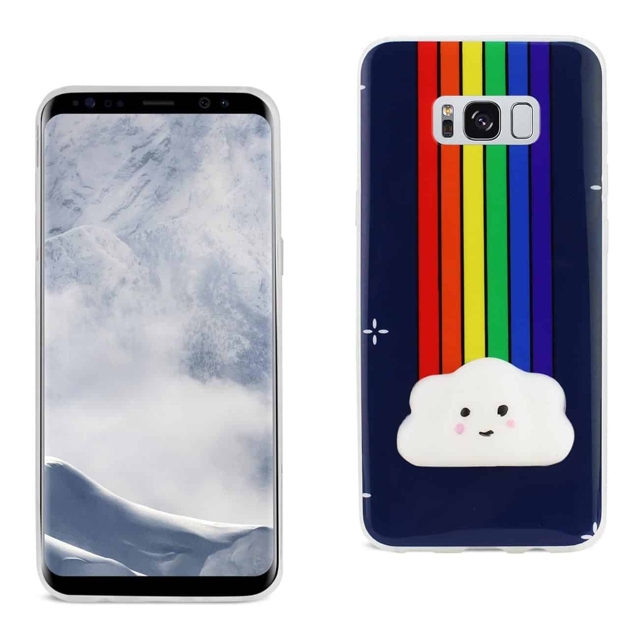 SAMSUNG GALAXY S8 EDGE TPU DESIGN CASE WITH  3D SOFT SILICONE POKE SQUISHY RAINBOW CLOUD