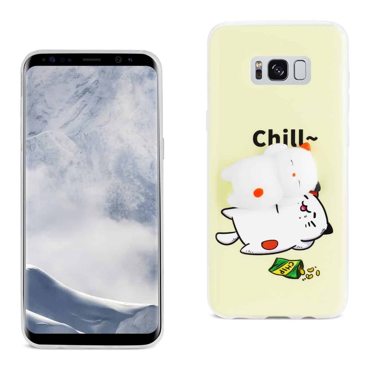 SAMSUNG GALAXY S8 EDGE TPU DESIGN CASE WITH  3D SOFT SILICONE POKE SQUISHY SLEEPING CAT