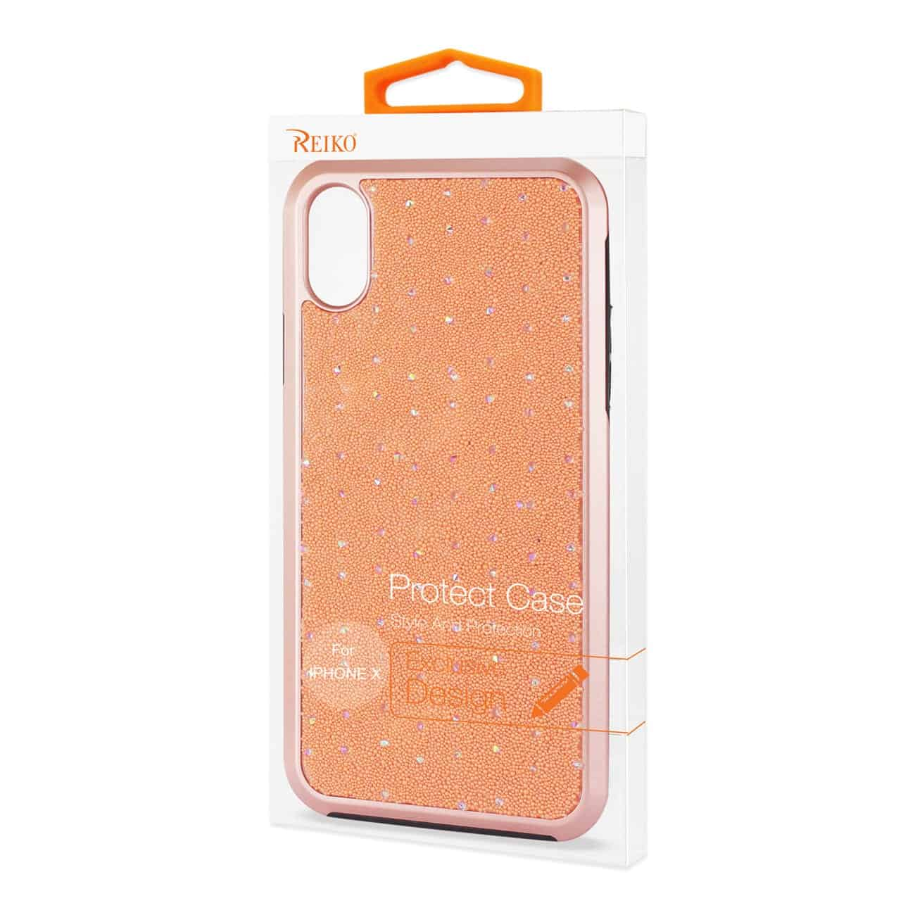 iPhone X Rhinestone TPU Protective Cover In Orange