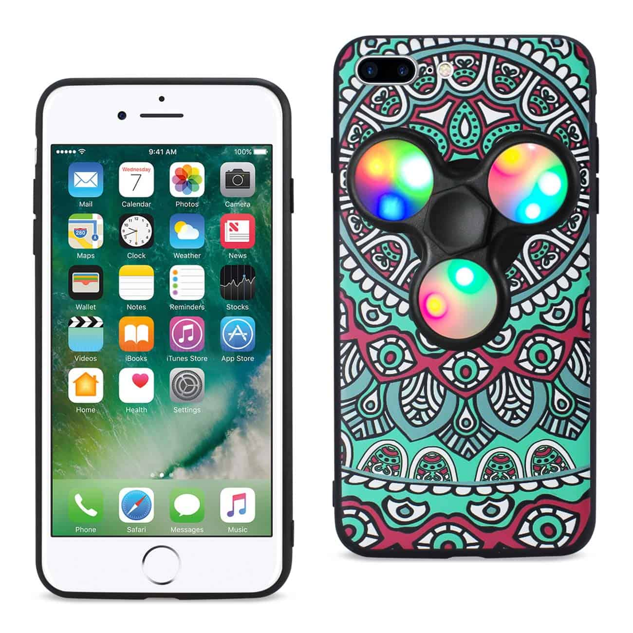 DESIGN THE INSPIRATION OF PEACOCK IPHONE 7 PLUS/ 6 PLUS/ 6S PLUS CASE WITH LED FIDGET SPINNER CLIP ON IN TEAL