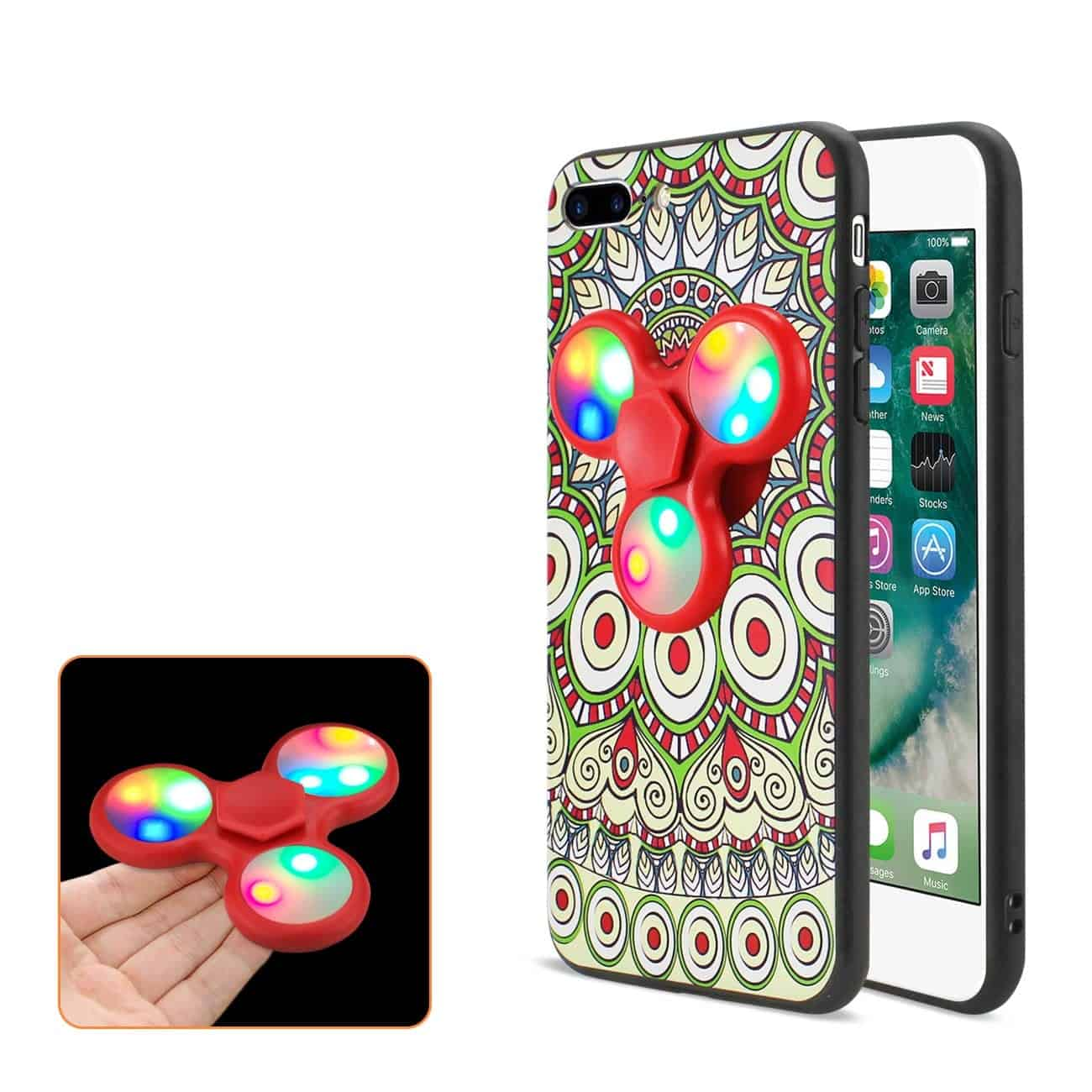 DESIGN THE INSPIRATION OF PEACOCK IPHONE 7 PLUS/ 6 PLUS/ 6S PLUS CASE WITH LED FIDGET SPINNER CLIP ON IN BEIGE