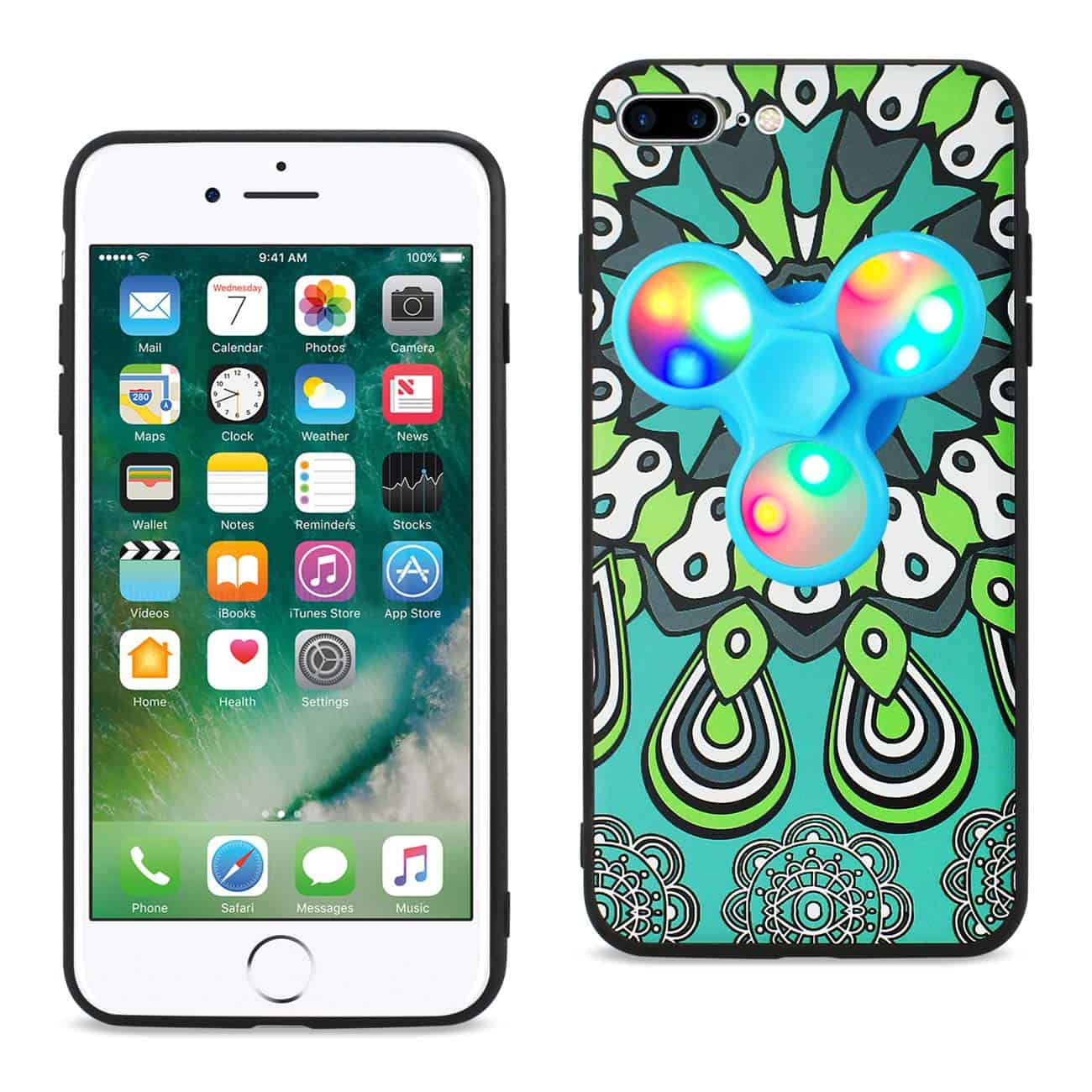 DESIGN THE INSPIRATION OF PEACOCK IPHONE 7 PLUS/ 6 PLUS/ 6S PLUS CASE WITH LED FIDGET SPINNER CLIP ON IN TURQUOISE