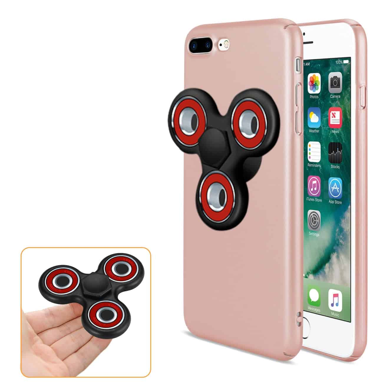 IPHONE 7 PLUS/ 6 PLUS/ 6S PLUS CASE WITH LED FIDGET SPINNER CLIP ON IN ROSE GOLD