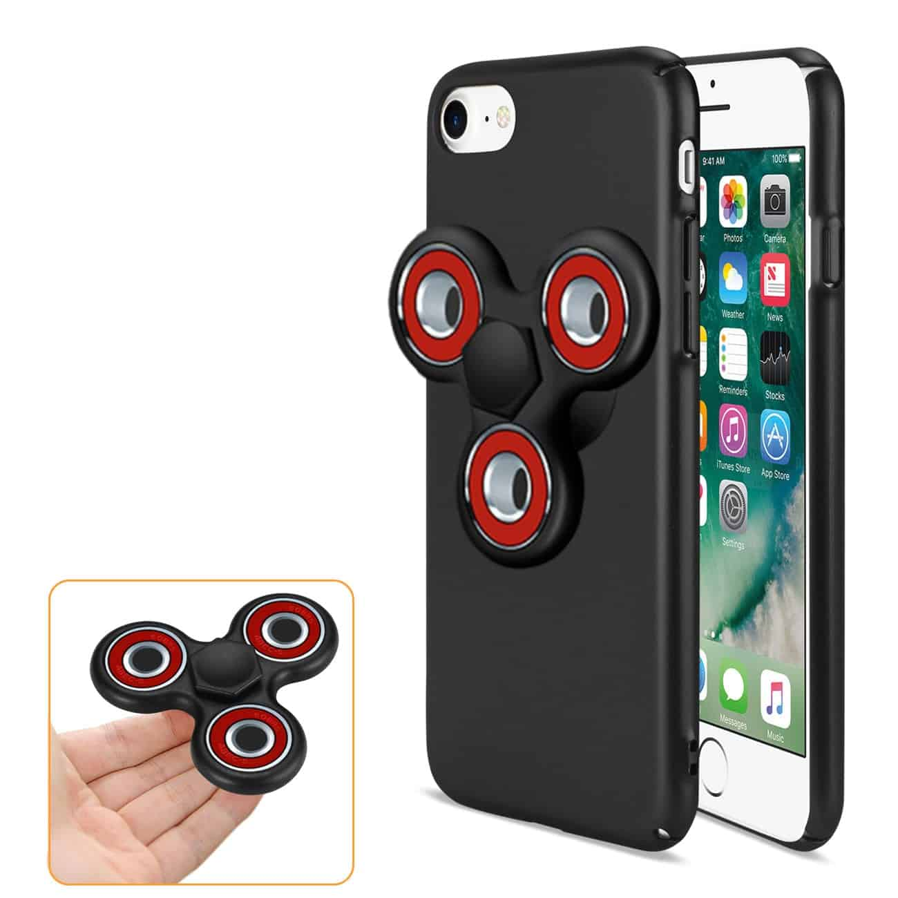IPHONE 7/ 6/ 6S CASE WITH LED FIDGET SPINNER CLIP ON IN BLACK
