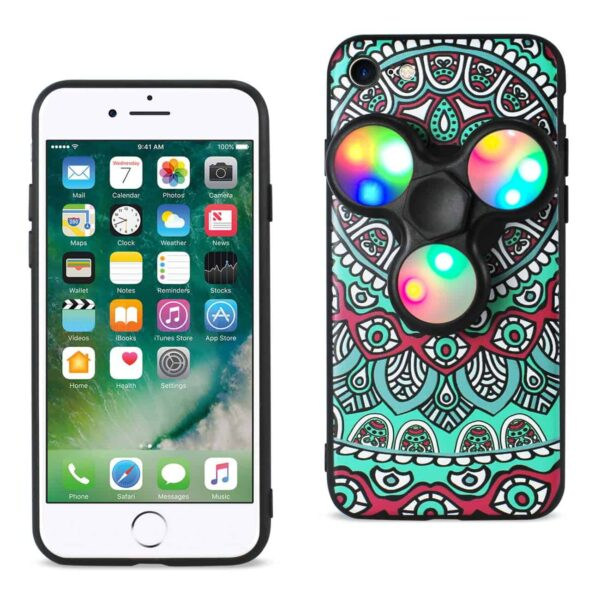 DESIGN THE INSPIRATION OF PEACOCK IPHONE 7/ 6/ 6S CASE WITH LED FIDGET SPINNER CLIP ON IN TEAL