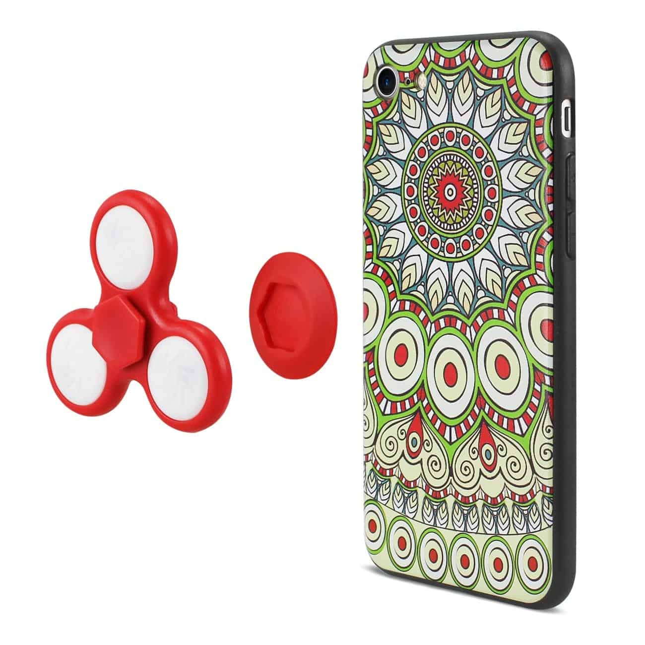 DESIGN THE INSPIRATION OF PEACOCK IPHONE 7/ 6/ 6S CASE WITH LED FIDGET SPINNER CLIP ON IN BEIGE