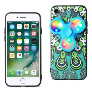 DESIGN THE INSPIRATION OF PEACOCK IPHONE 7/ 6/ 6S CASE WITH LED FIDGET SPINNER CLIP ON IN TURQUOISE