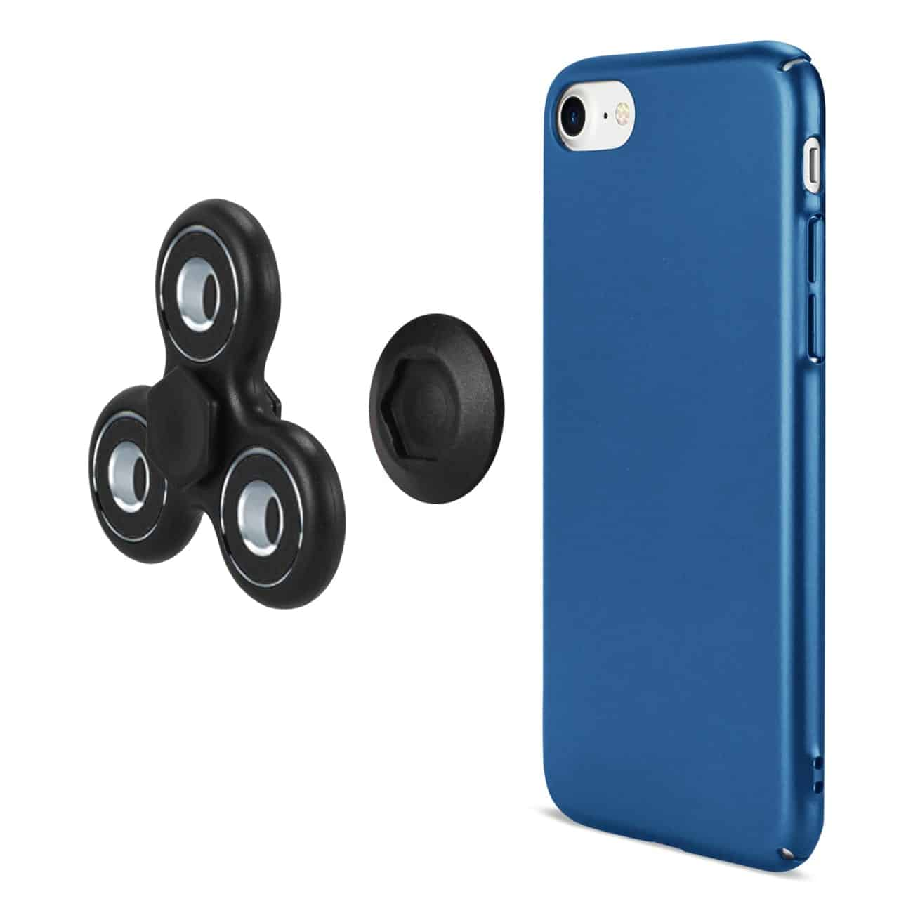 IPHONE 7/ 6/ 6S CASE WITH LED FIDGET SPINNER CLIP ON IN NAVY