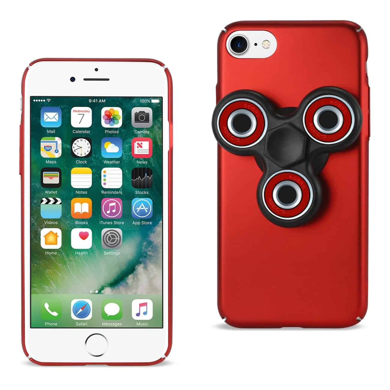IPHONE 7/ 6/ 6S CASE WITH LED FIDGET SPINNER CLIP ON IN RED