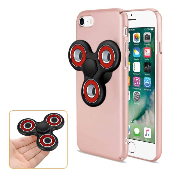 IPHONE 7/ 6/ 6S CASE WITH LED FIDGET SPINNER CLIP ON IN ROSE GOLD