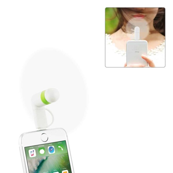 MINI FAN 2-IN-1 FOR IPHONE/ IPAD AND ANDROID IN WHITE
