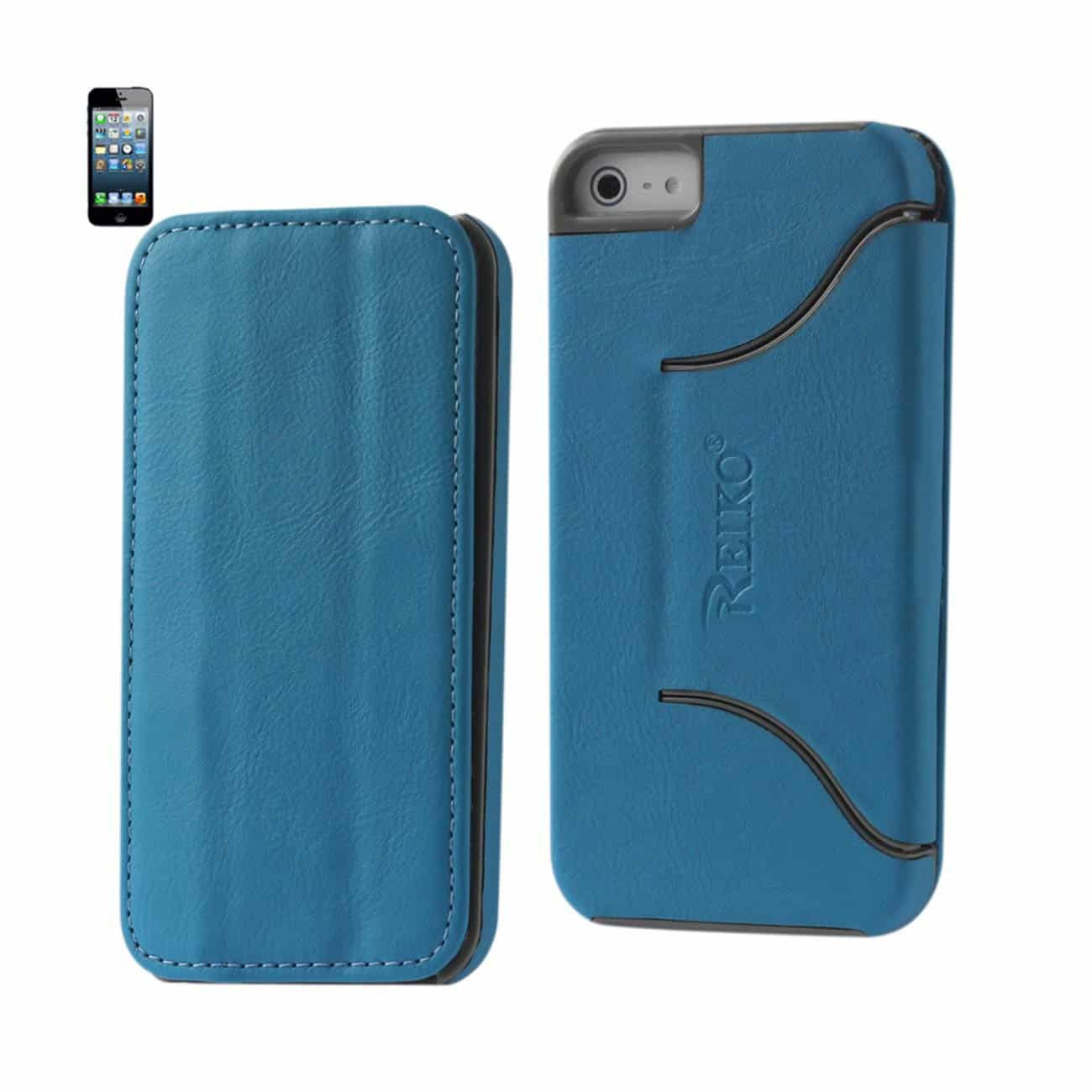 IPHONE SE/ 5S/ 5 FLIP FOLIO CASE WITH STAND IN BLUE