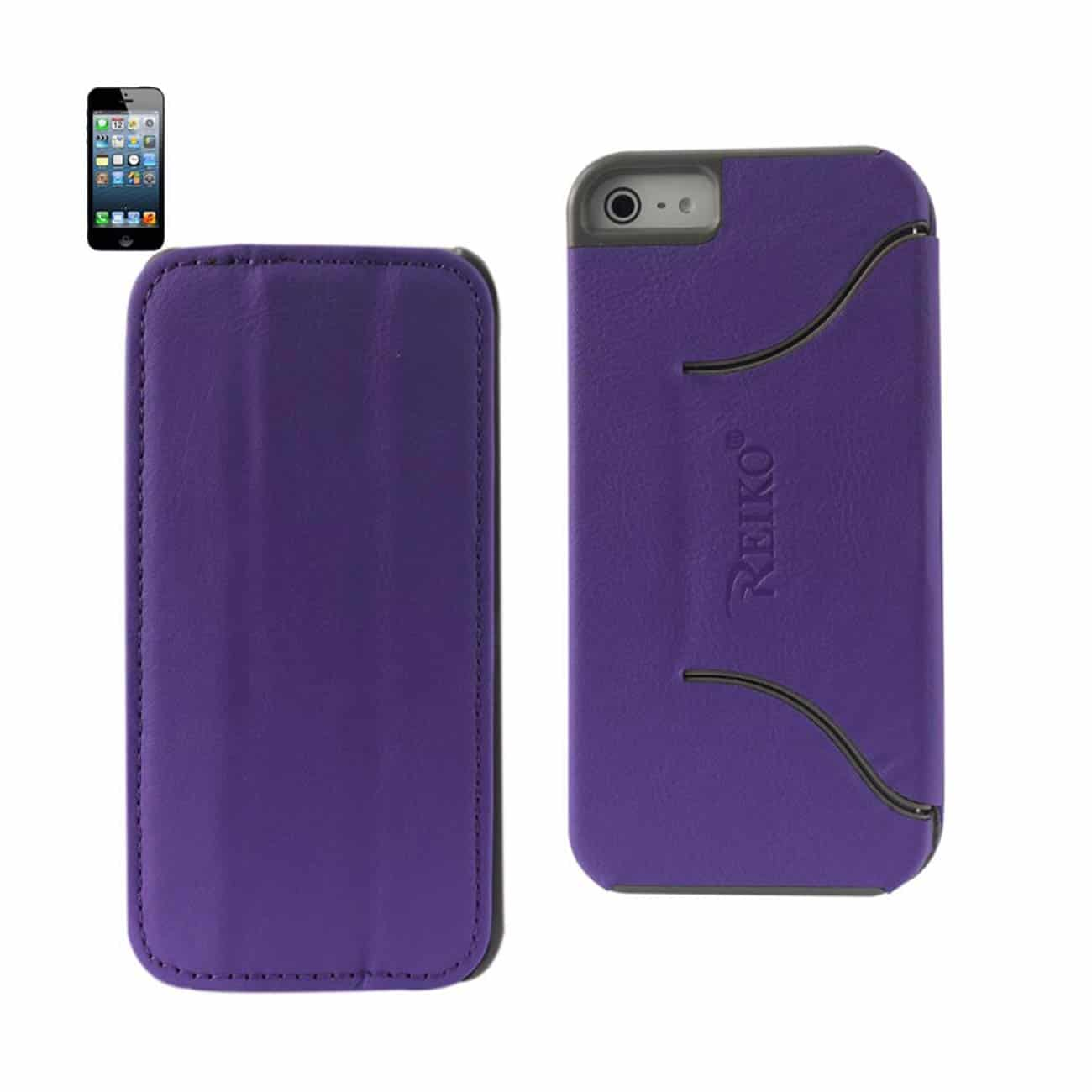 IPHONE SE/ 5S/ 5 FLIP FOLIO CASE WITH STAND IN PURPLE