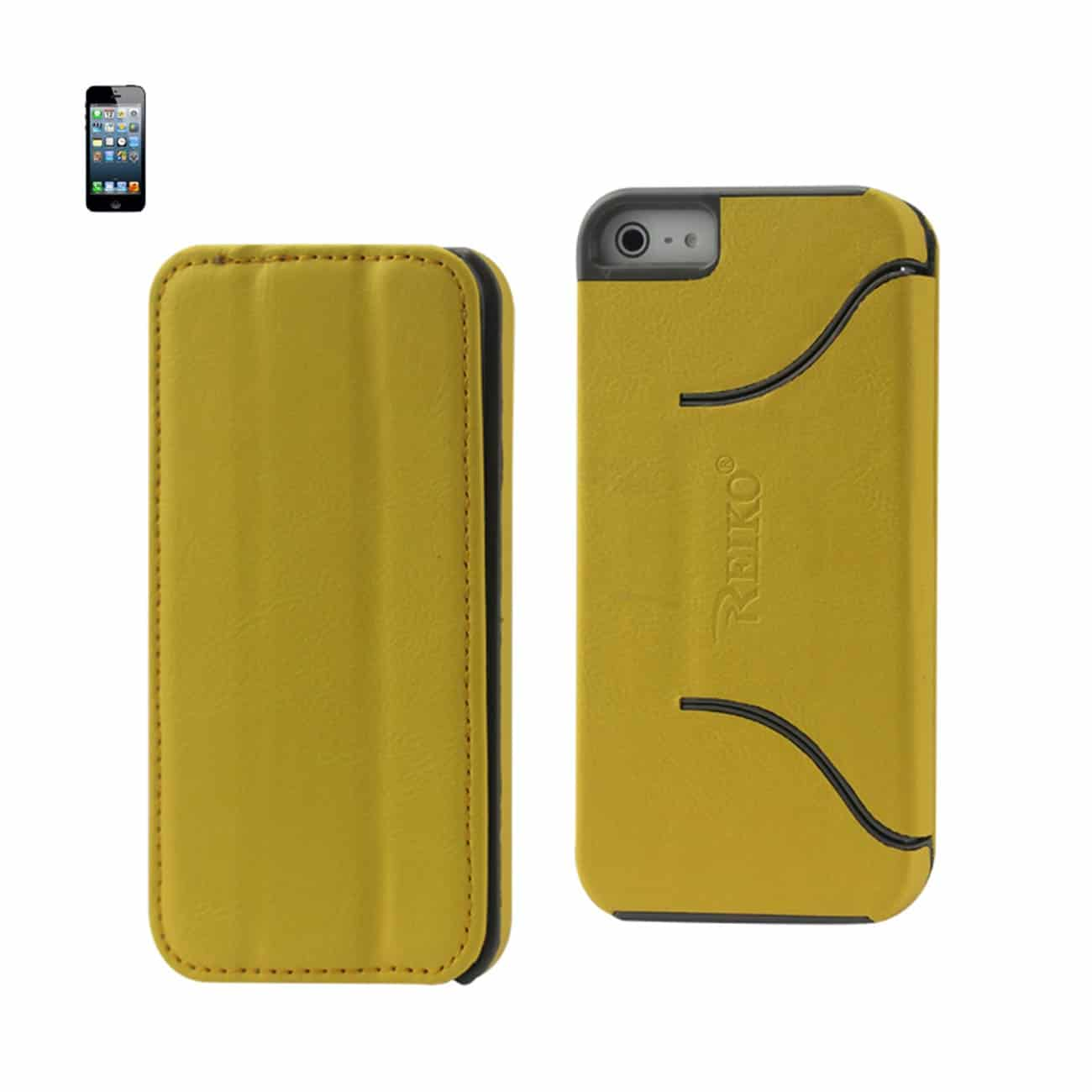 IPHONE 5/5S/SE FLIP FOLIO CASE WITH STAND IN YELLOW