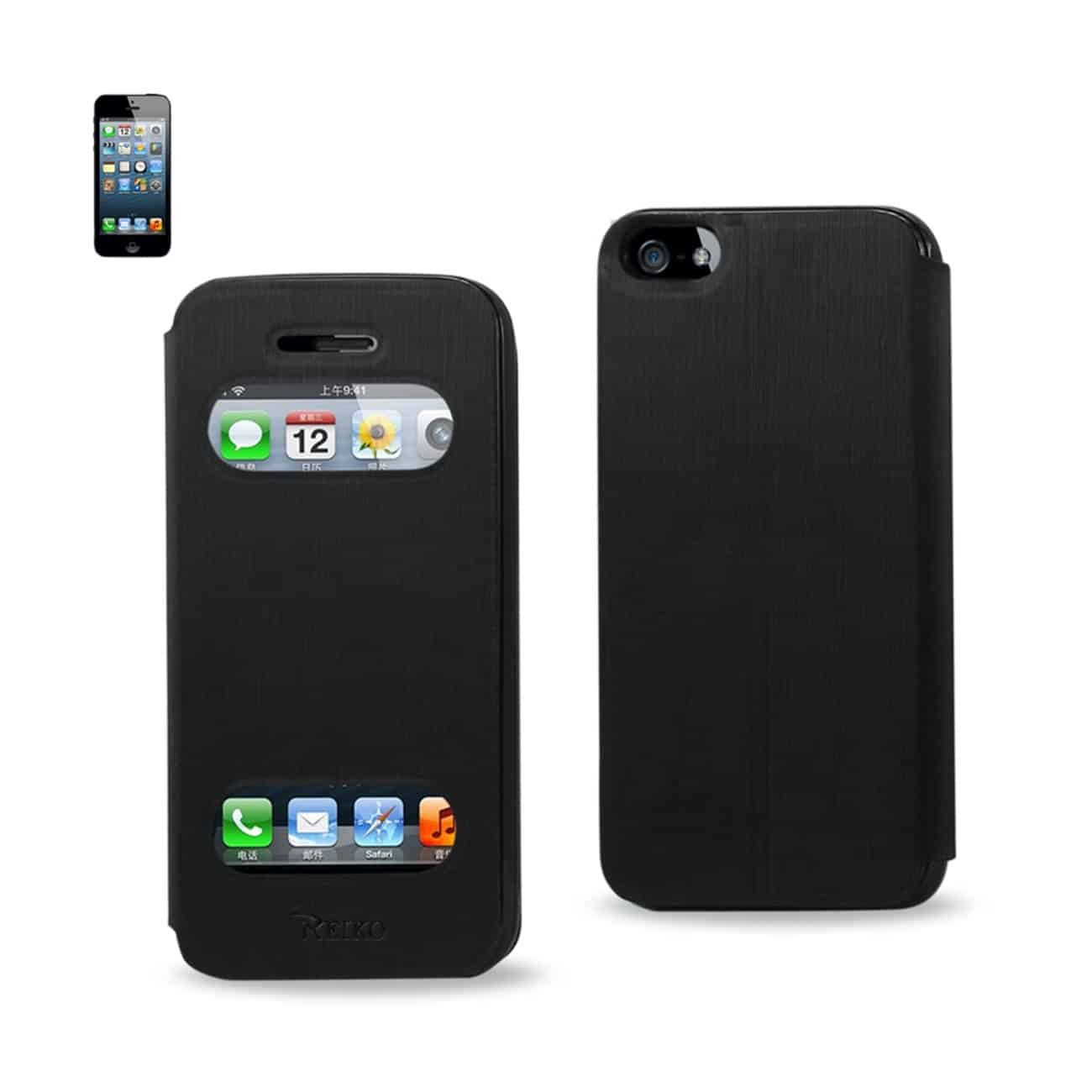 IPHONE SE/ 5S/ 5 SMART WINDOW FLIP CASE IN BLACK