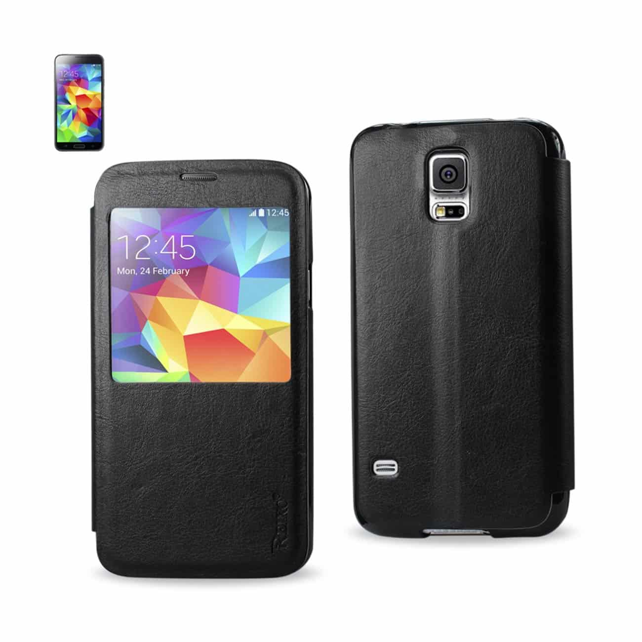 SAMSUNG GALAXY S5 SMART WINDOW FLIP CASE IN BLACK
