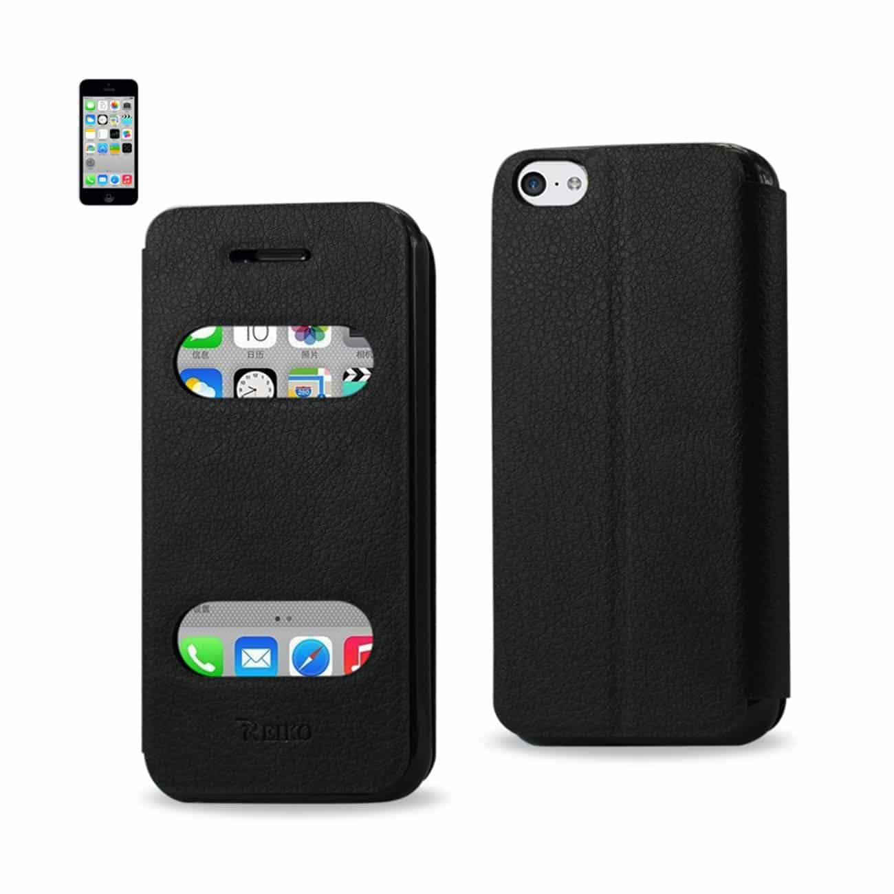 IPHONE 5C WINDOW FLIP FOLIO CASE IN BLACK