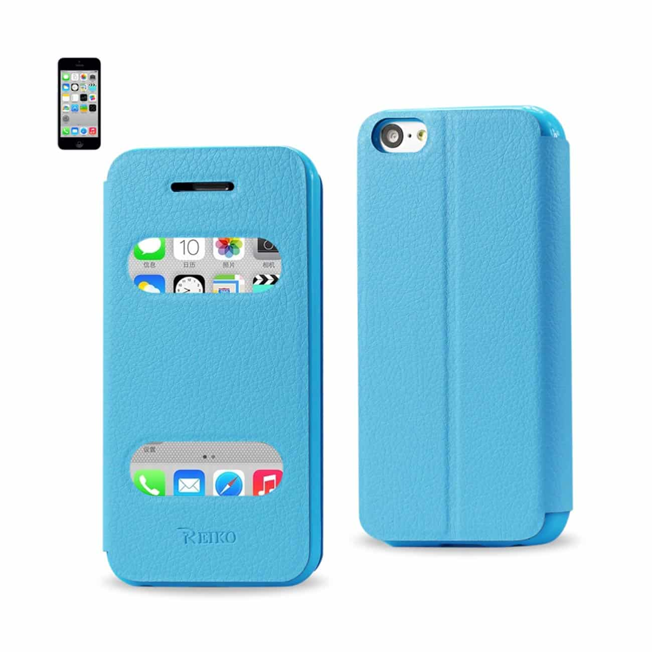 IPHONE 5C WINDOW FLIP FOLIO CASE IN BLUE