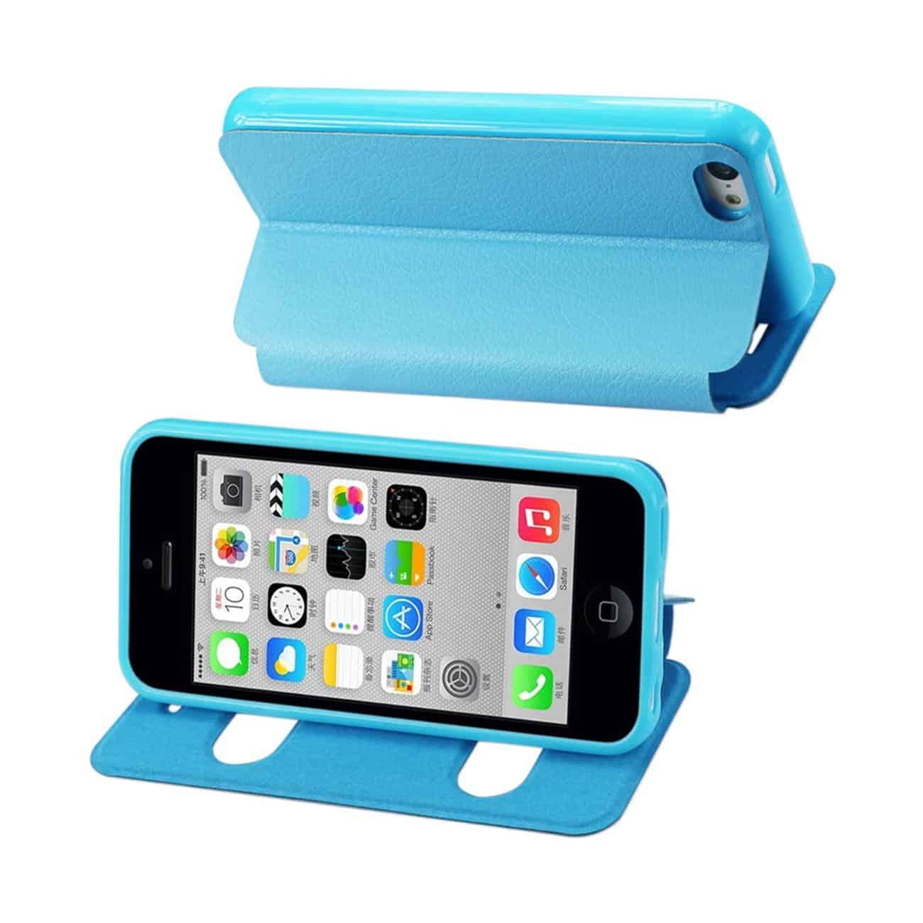 IPHONE 5C WINDOW FLIP FOLIO CASE IN BLUE