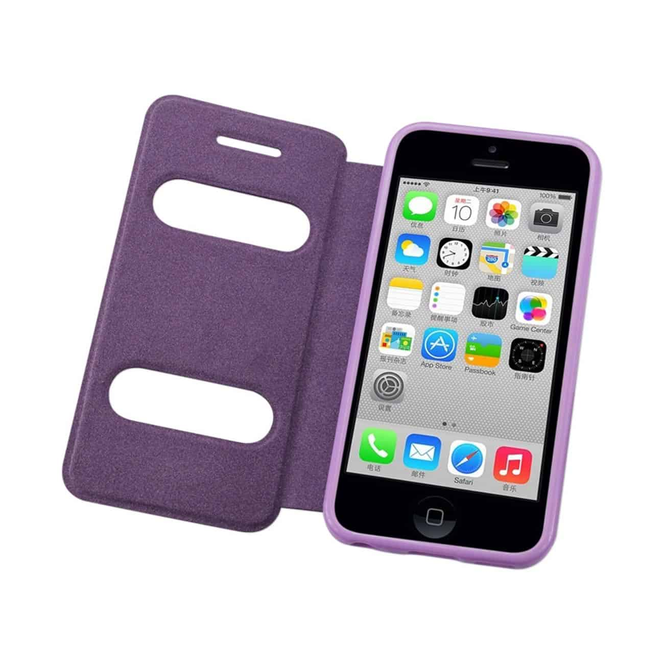 IPHONE 5C WINDOW FLIP FOLIO CASE IN PURPLE