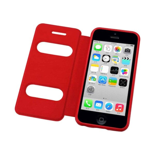 IPHONE 5C WINDOW FLIP FOLIO CASE IN RED